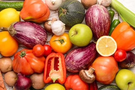 Assortment of fresh vegetables, top view