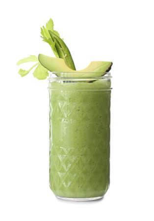 Jar of fresh healthy smoothie on white background Stock Photo