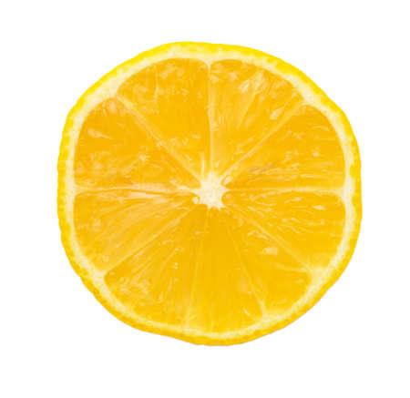 Piece of lemon on white background