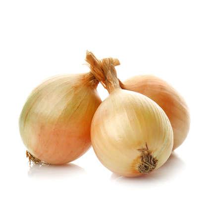 Fresh raw onions on white background