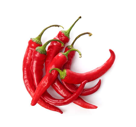 Red chili peppers on white background Zdjęcie Seryjne