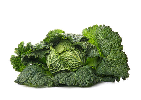 Tasty ripe cabbage on white background Archivio Fotografico