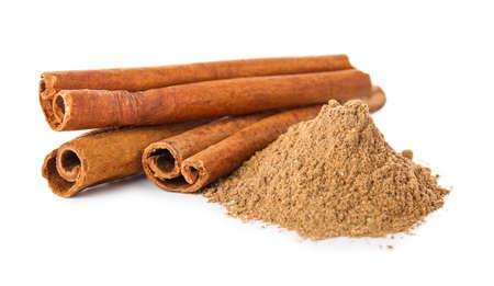 Aromatic cinnamon on white background
