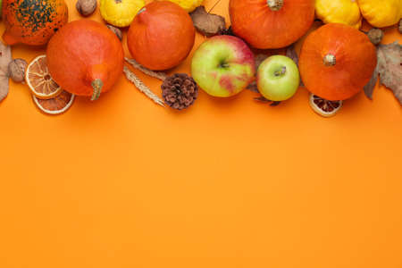 Autumn composition with pumpkins on color background