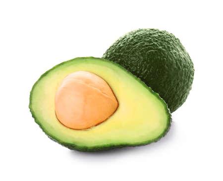 Ripe avocados on white background Stock fotó