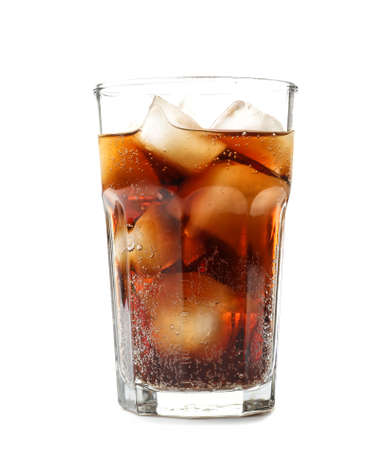 Glass of cold cola on white background