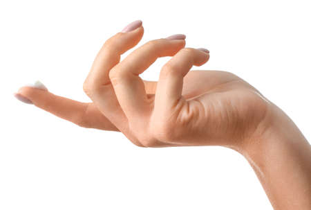 Female hand with cream on white background Banque d'images