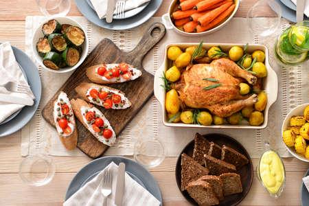 Table set for big family dinner