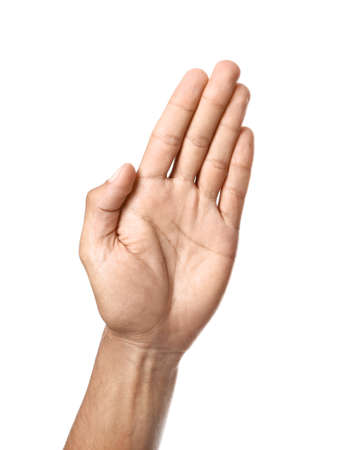 Male hand with open palm on white background