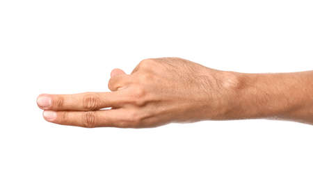 Gesturing male hand on white background Stock Photo