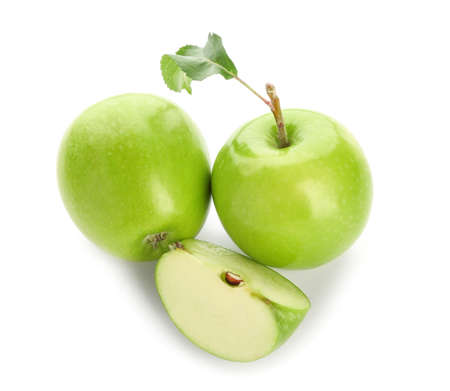 Fresh ripe apples on white background Standard-Bild