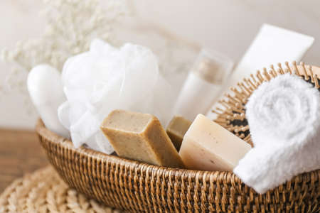 Accessories and cosmetics for personal hygiene on table