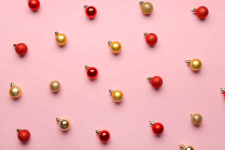 Christmas balls on color background