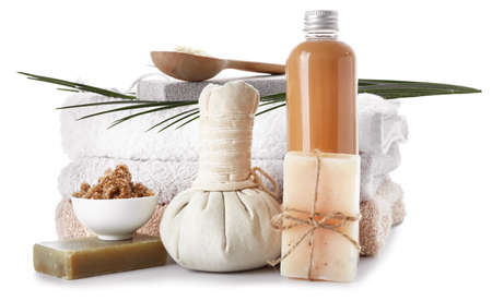 Composition with spa items on white background Фото со стока