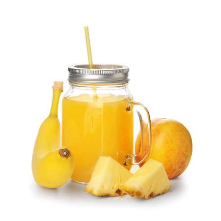 Mason jar of fresh fruit juice isolated on white