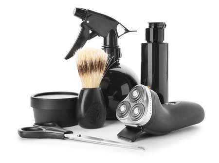 Set for male shaving on white background Banque d'images
