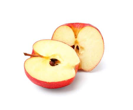 Pieces of fresh apple on white background Banco de Imagens