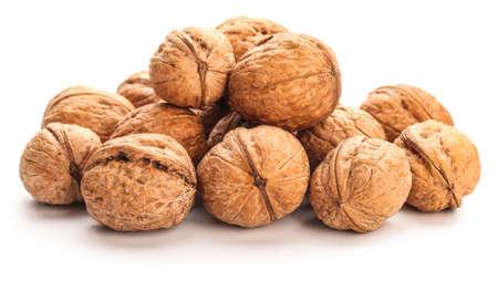 Tasty walnuts on white background