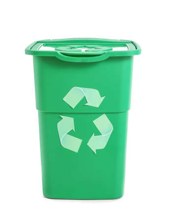 Container for trash with recycling sign on white background