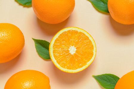 Fresh oranges on light background Stock Photo