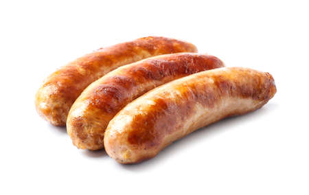 Tasty grilled sausages on white background