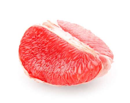 Piece of fresh grapefruit on white background