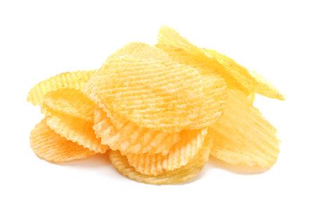 Tasty potato chips on white background Standard-Bild