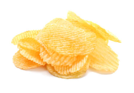 Tasty potato chips on white background Stock fotó