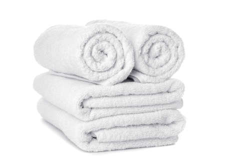 Clean soft towels isolated on white
