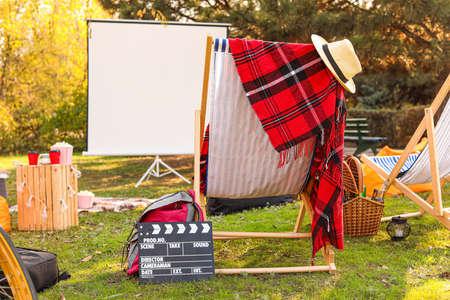 Outdoor cinema in autumn park