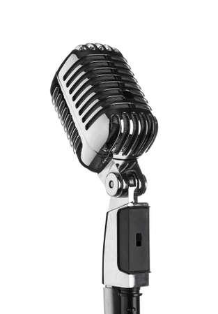 Retro microphone on white background Фото со стока
