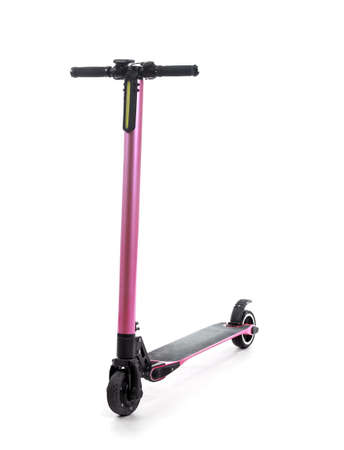 Modern electric kick scooter on white background