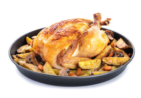 Dish with baked chicken and potato on white background