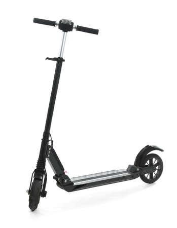 Modern electric kick scooter on white background Reklamní fotografie