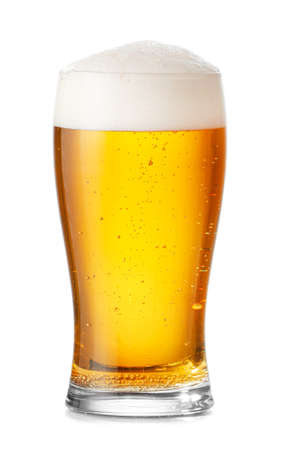 Glass of fresh beer on white background