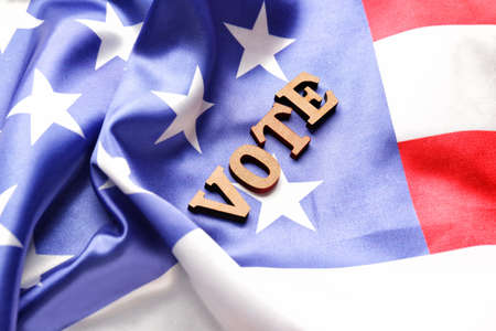Text VOTE on USA flag