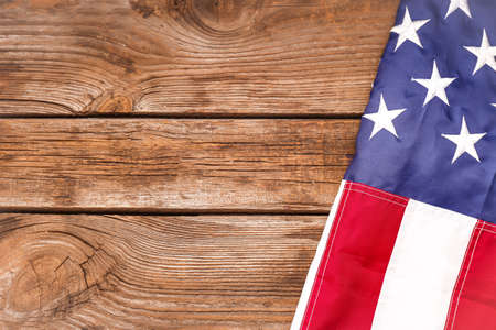 USA flag and space for text on wooden background Imagens