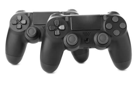 Modern game pads on white background Banque d'images