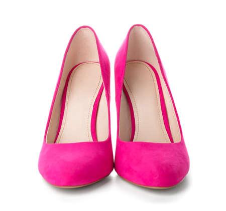 Stylish female shoes on white background Archivio Fotografico
