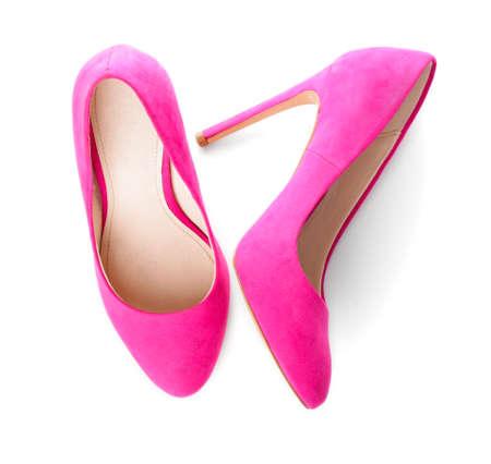 Stylish female shoes on white background Reklamní fotografie