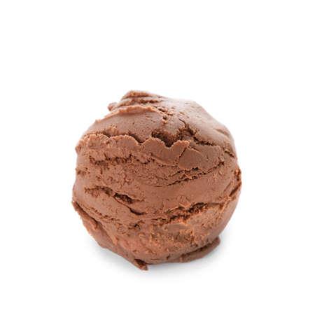 Tasty chocolate ice-cream on white background