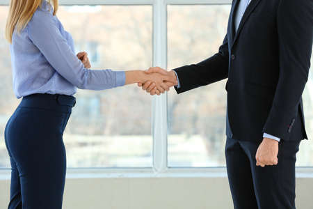 Bank manager and man shaking hands in office