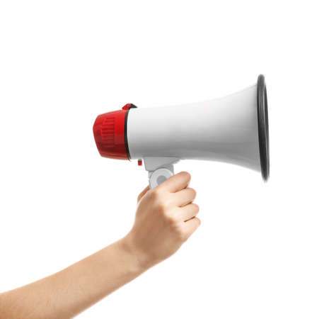 Female hand with megaphone on white background Standard-Bild