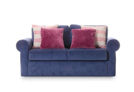 Comfortable sofa on white background