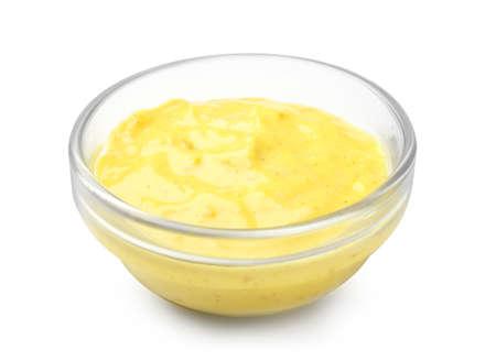 Bowl with tasty sauce on white background Zdjęcie Seryjne