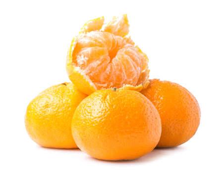 Sweet tangerines on white background Foto de archivo