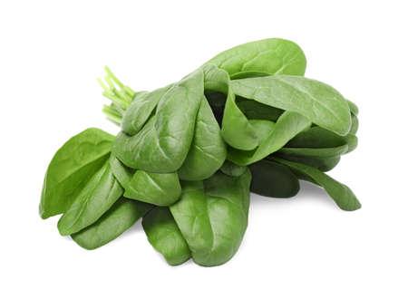 Fresh spinach on white background
