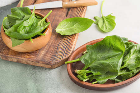 Fresh green spinach on table