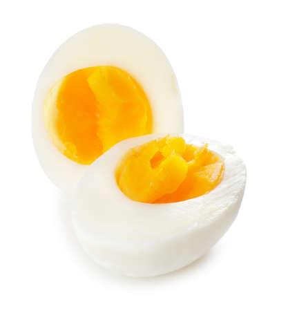 Fresh boiled egg on white background