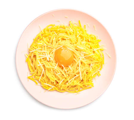 Plate with tasty pasta and egg on white background